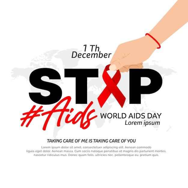 Flat world aids day illustration Premium Vector
