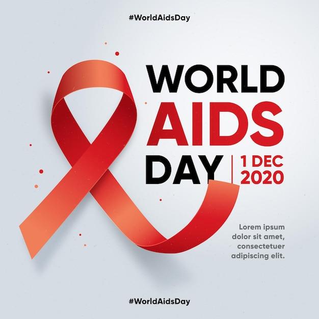 평평한 세계 에이즈의 날 무료 벡터