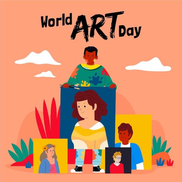 Плоский всемирный день искусства иллюстрация Бесплатные векторы