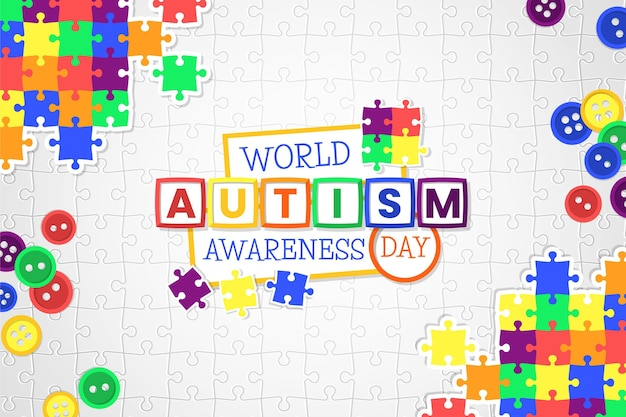 Flat world autism awareness day illustration Free Vector