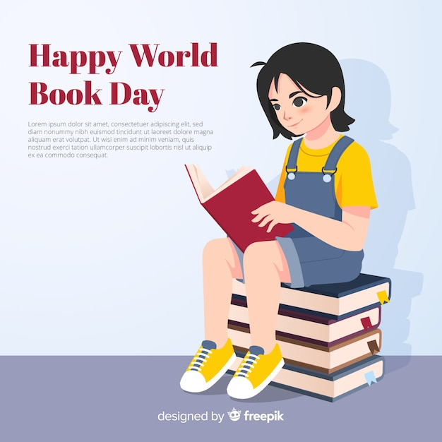 Flat world book day background Free Vector