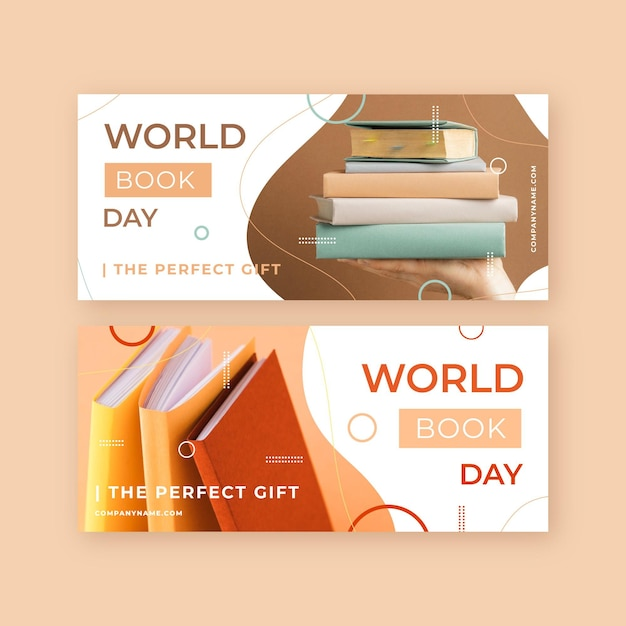 Flat world book day banners set Free Vector