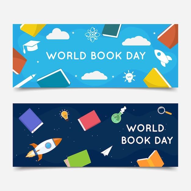 Set di banner piatto giornata mondiale del libro Vettore gratuito