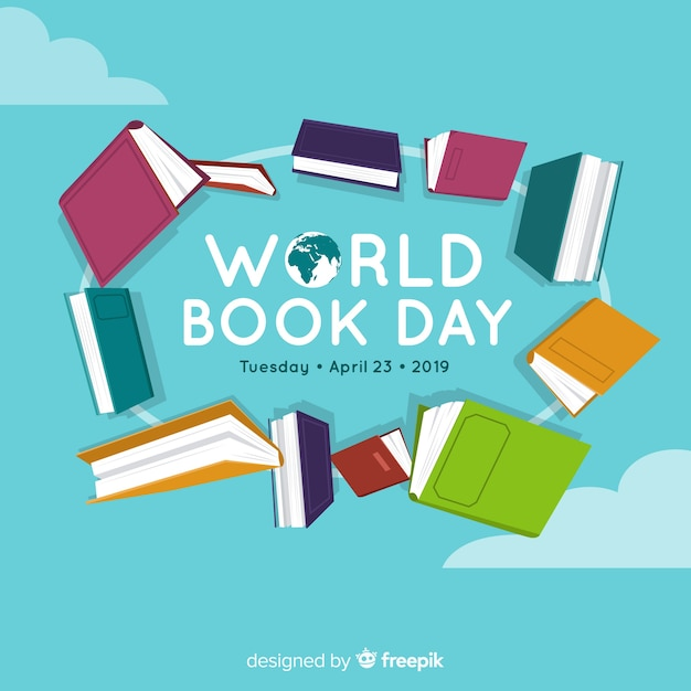 Flat world book day banners Free Vector