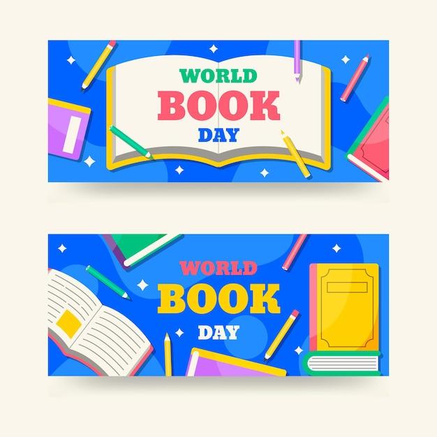 Banner piatto giornata mondiale del libro Vettore gratuito