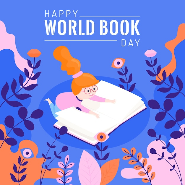 Flat world book day concept Premium Vector