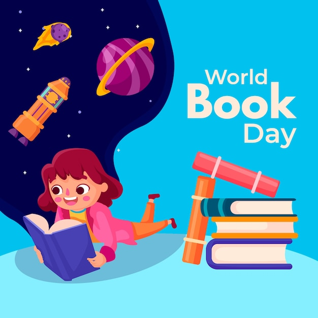Flat world book day concept Free Vector