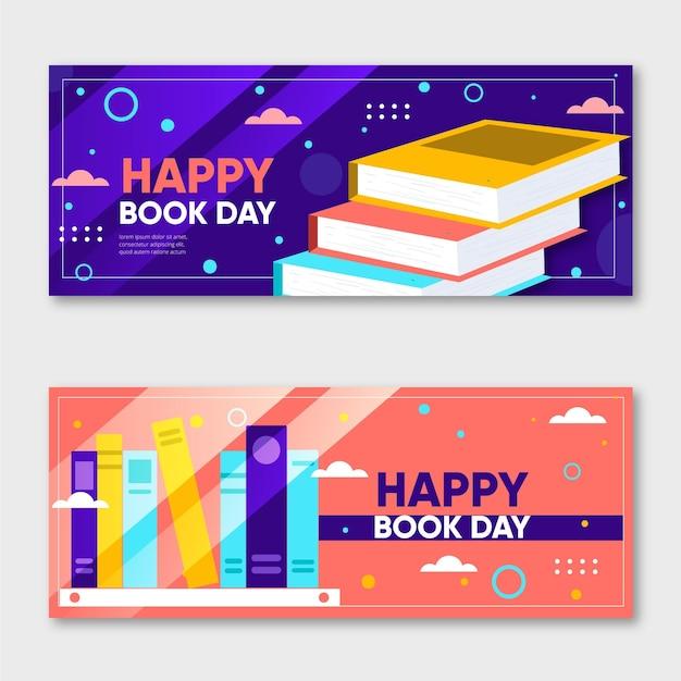 Banner orizzontale piatto giornata mondiale del libro Vettore gratuito