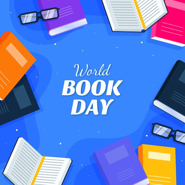 Flat world book day illustration Free Vector