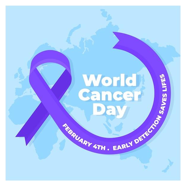Плоский всемирный день борьбы с раком фиолетовая лента на карте мира Бесплатные векторы