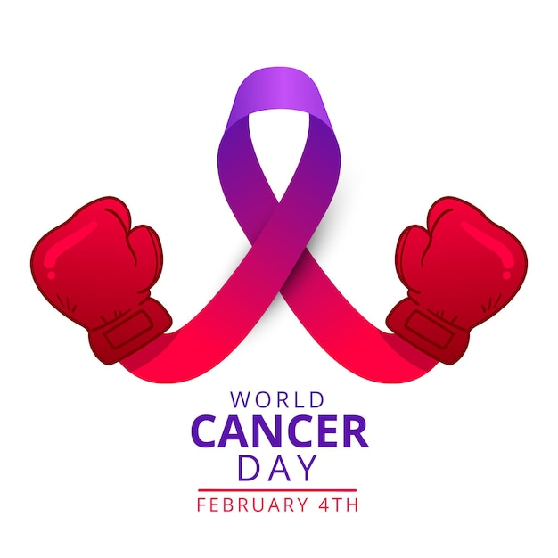 권투 장갑과 평면 세계 암의 날 보라색 리본 무료 벡터