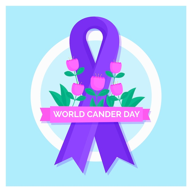 Flat world cancer day purple ribbon with flowers Free Vector