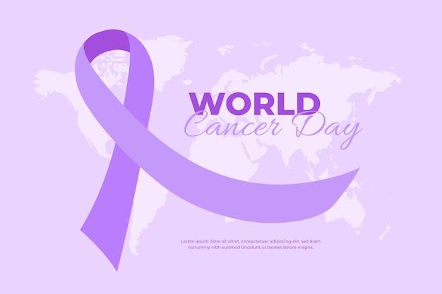 평평한 세계 암의 날 보라색 리본 무료 벡터