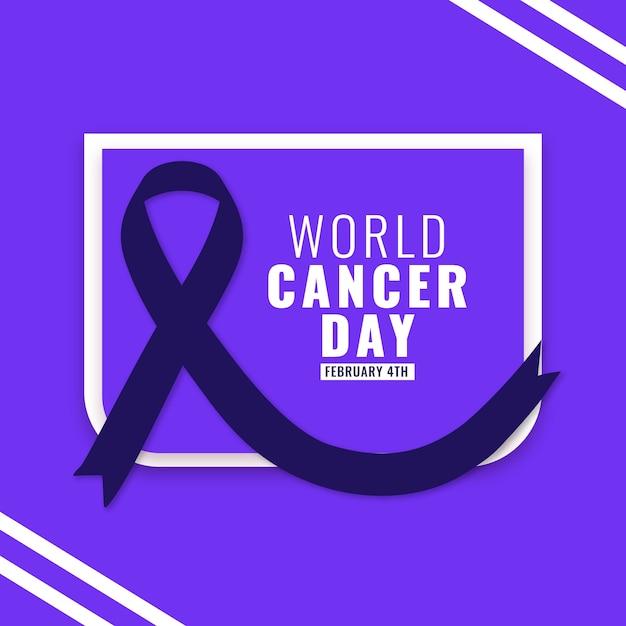 Flat world cancer day ribbon Free Vector