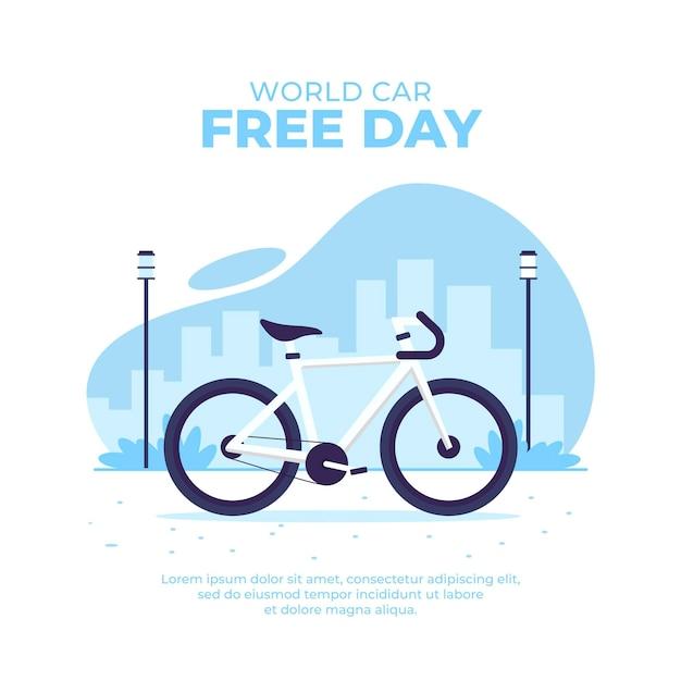 Flat world car free day Free Vector