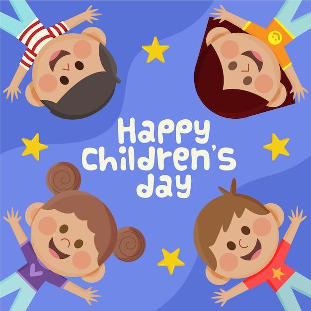 Flat world children's day celebration Free Vector