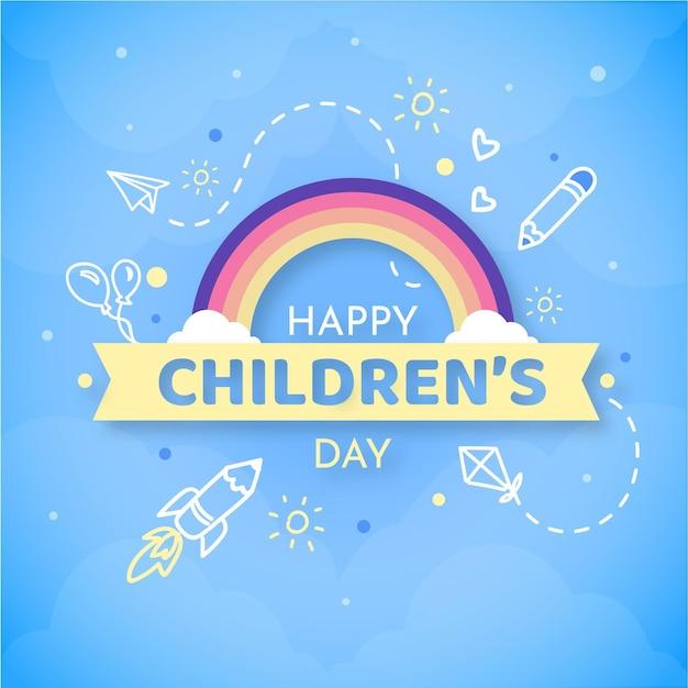 Flat world children's day message Free Vector