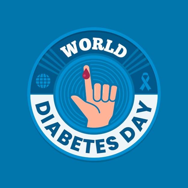 テキストとフラット世界糖尿病デーイラスト 無料ベクター