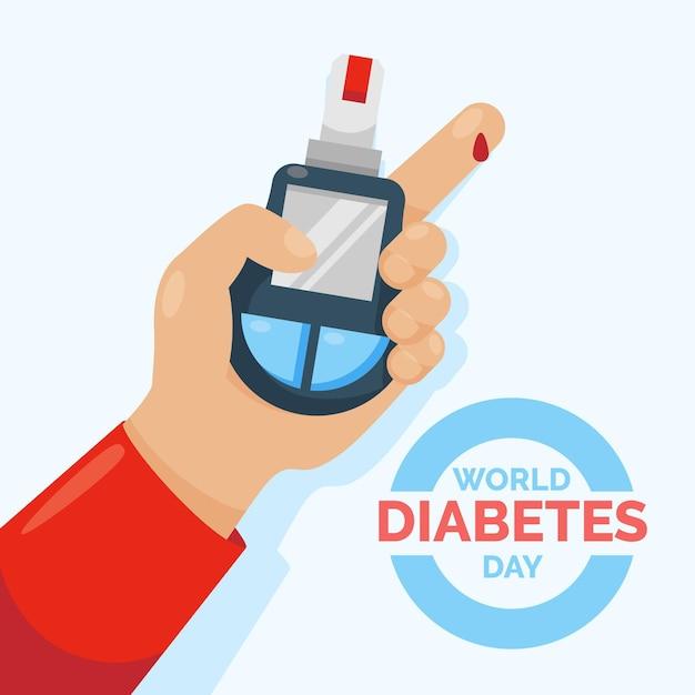Плоский всемирный день диабета Premium векторы