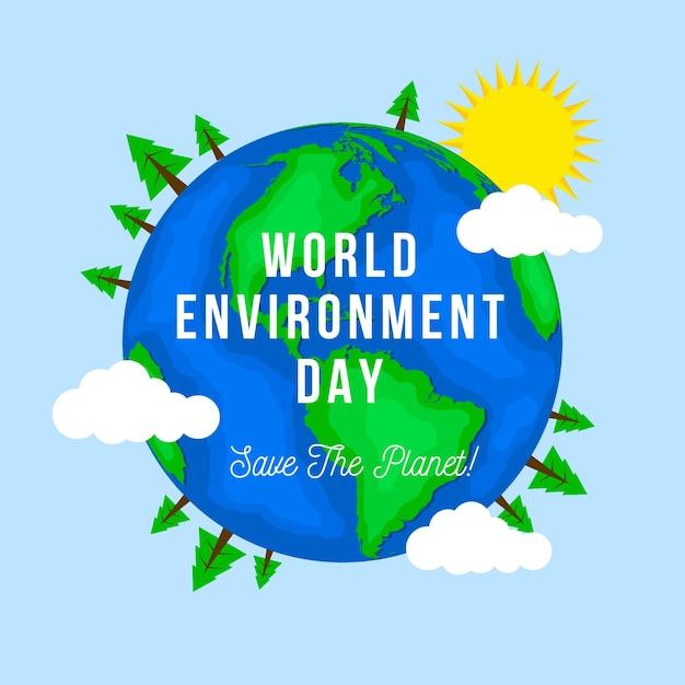 フラットな世界環境デー 無料ベクター