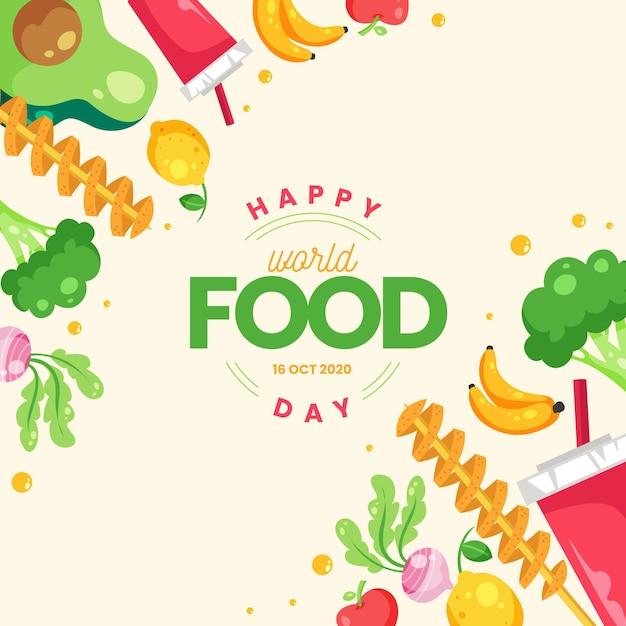 平らな世界の食べ物の日イラスト 無料ベクター