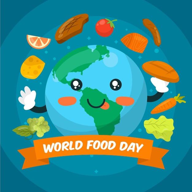Flat world food day illustration Free Vector