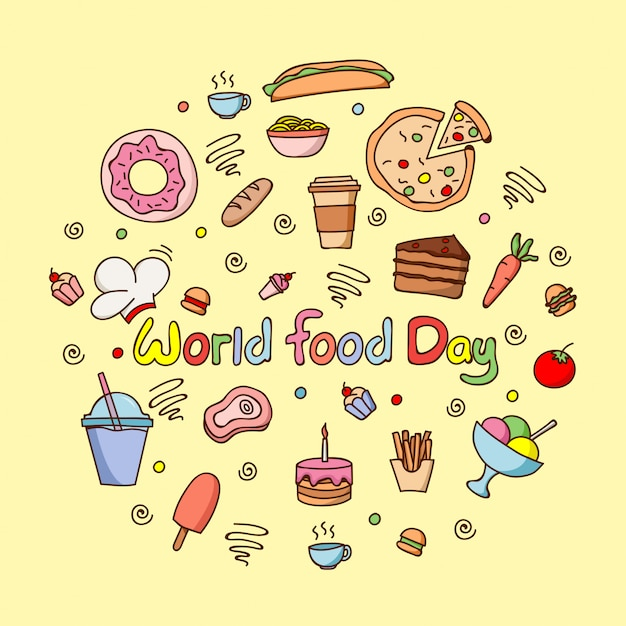Flat  world food day Premium Vector