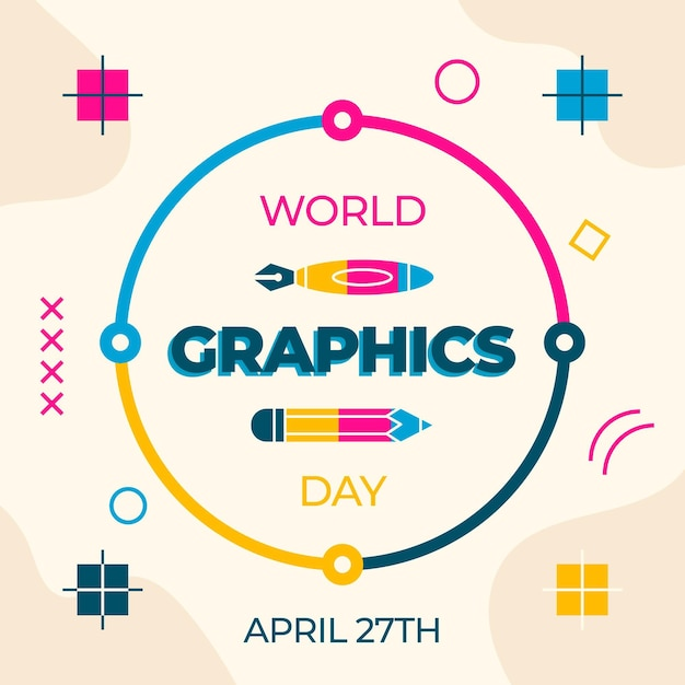 Flat world graphics day event Free Vector