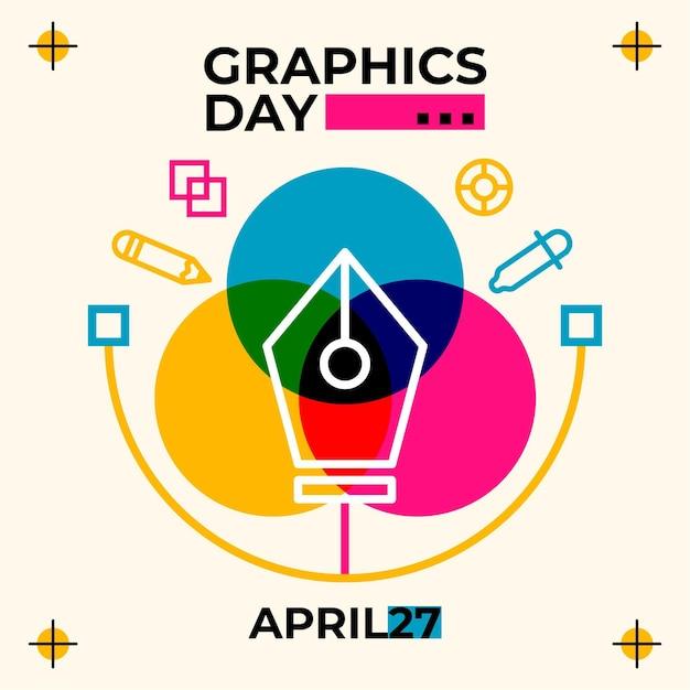 Плоский мир графики день иллюстрация Бесплатные векторы