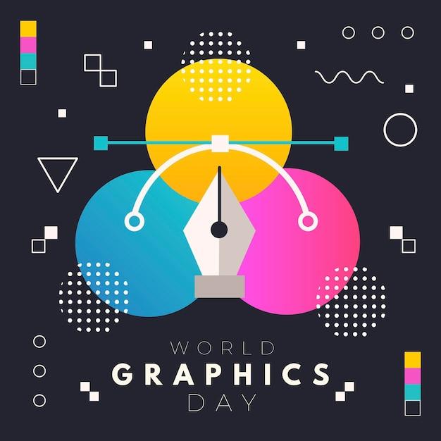 フラットな世界のグラフィックの日のイラスト 無料ベクター