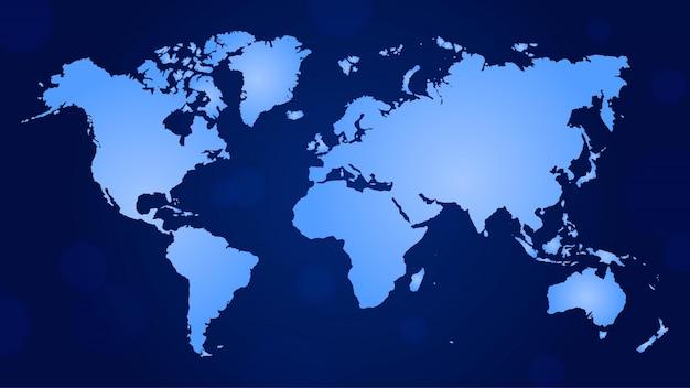 フラット世界地図グラデーションブルー色 Premiumベクター
