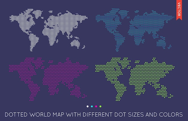 Flat world map infographic. map of the world. Premium Vector
