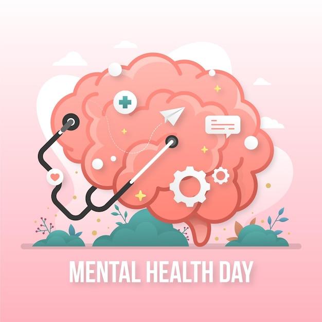Giornata mondiale della salute mentale piatta Vettore gratuito
