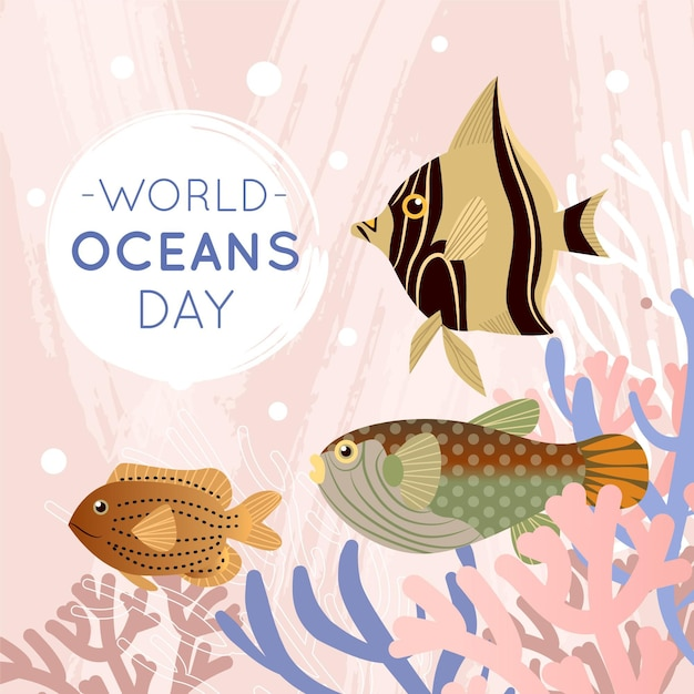 Flat world oceans day background Free Vector