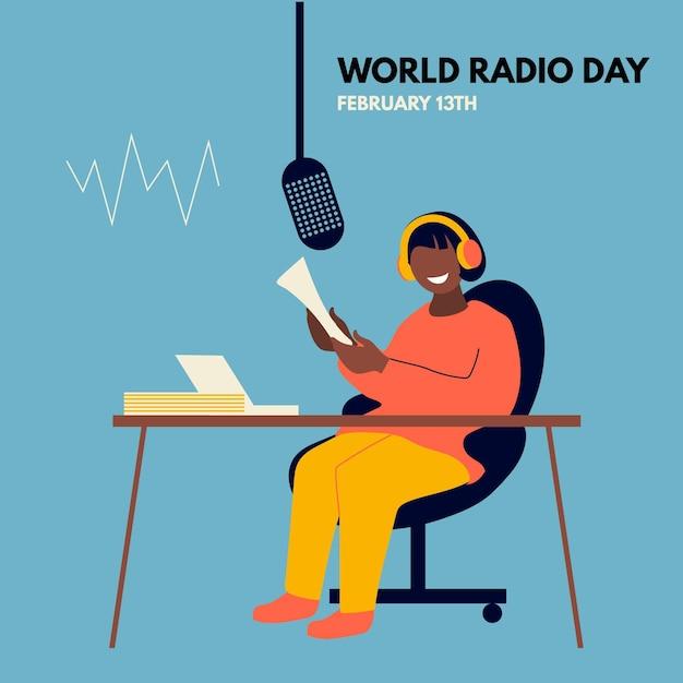 Flat world radio day illustration Free Vector