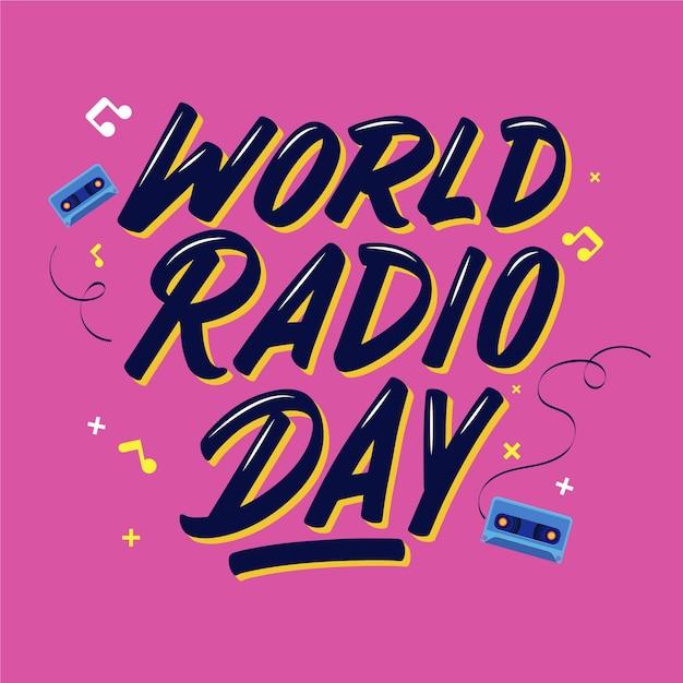 평평한 세계 라디오의 날 텍스트 무료 벡터