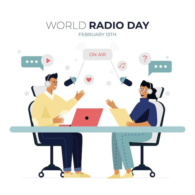 평평한 세계 라디오의 날 무료 벡터
