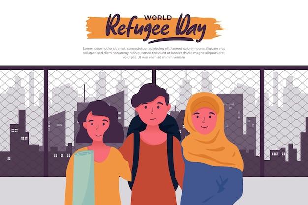 外国の都市でフラット世界難民の日 無料ベクター