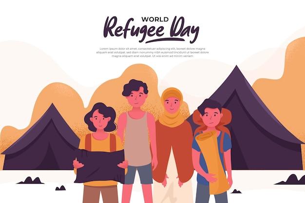 テントに住んでいるフラットな世界の難民の日 無料ベクター