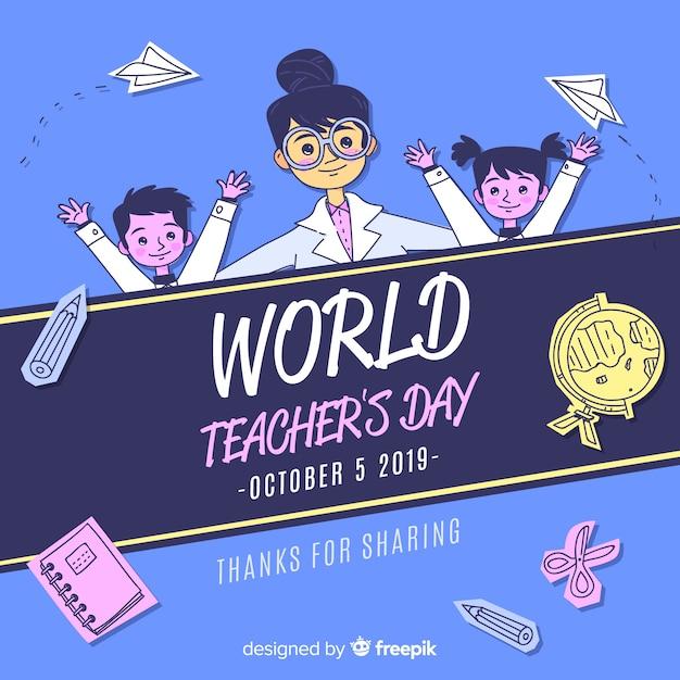 Flat world teacher's day background Free Vector