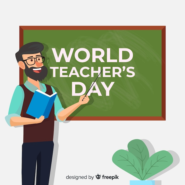 Flat world teacher's day background Free Vector