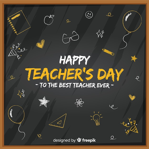 Flat world teachers' day chalkboard with cute drawings Free Vector