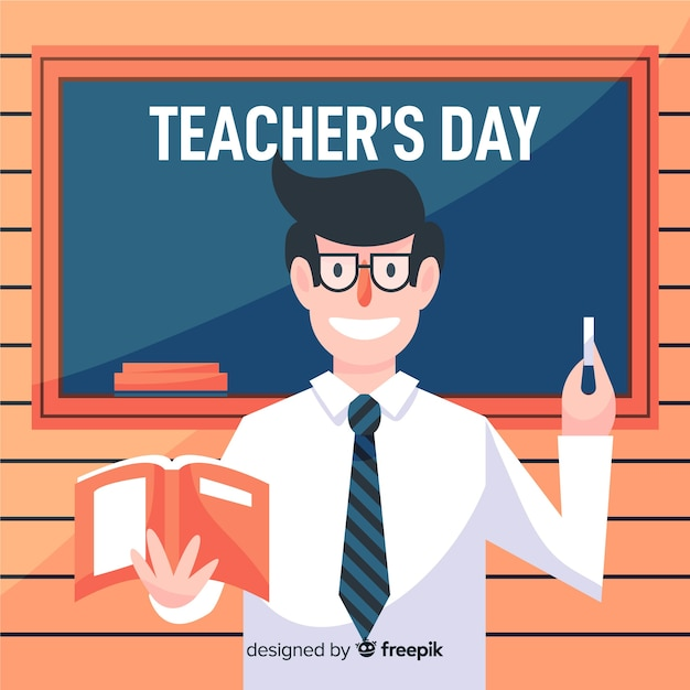 Flat world teachers' day with happy teacher Free Vector