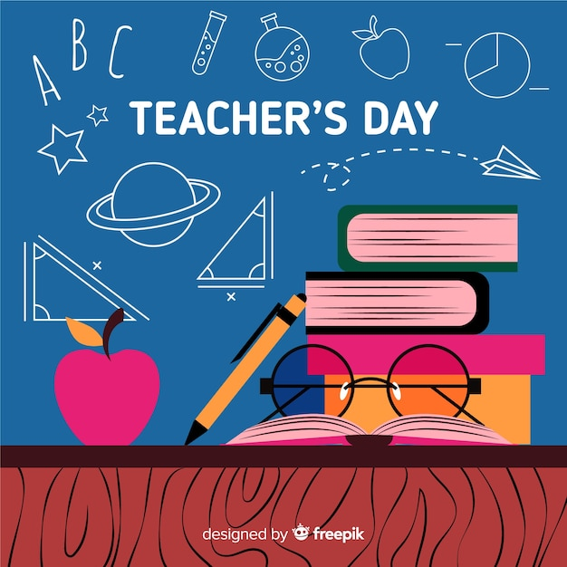 Flat world teachers' day with pile of books Free Vector