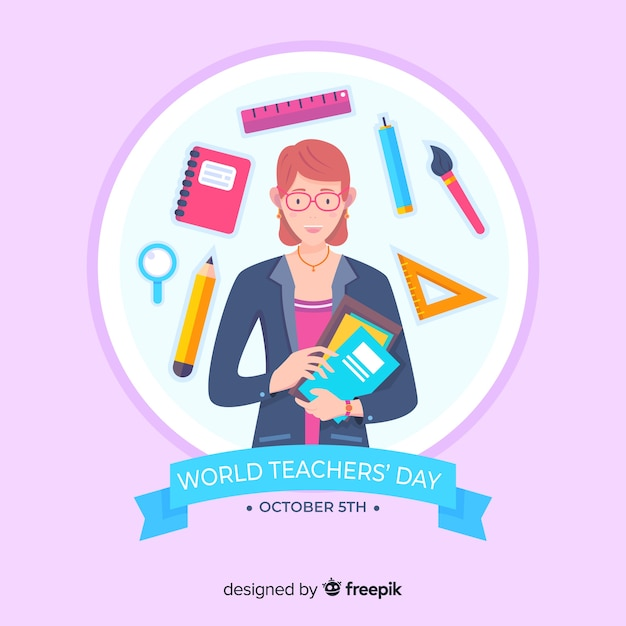 Flat world teachers' day with school supplies Free Vector