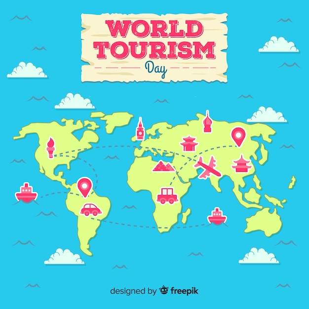 Flat world tourism day 2d map Free Vector