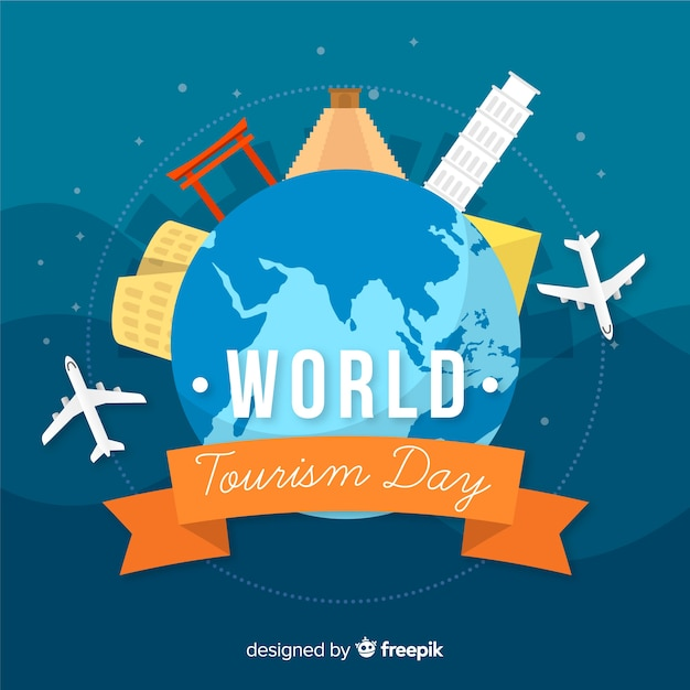 Flat world tourism day background with landmarks Free Vector