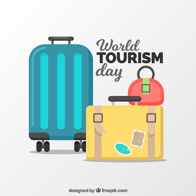 Flat world tourism day composition with luggage