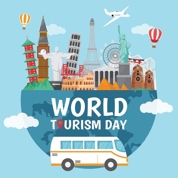 Concetto di giornata mondiale del turismo piatto Vettore gratuito
