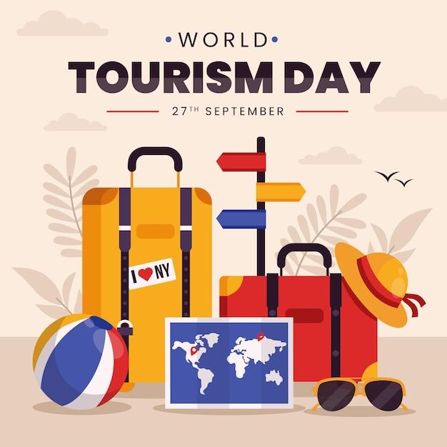 평평한 세계 관광의 날 개념 프리미엄 벡터